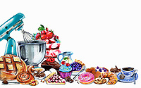 Variation of pastries and sweets and mixer on white background