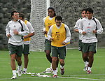 Mexico national soccer team player Rafael Garcia (L-R) Joel Huiqui, Luis Perez and Claudio Suarez train during a training session at the Centro Pegaso training center, March 27, 2006. Photo by Javier Rodriguez