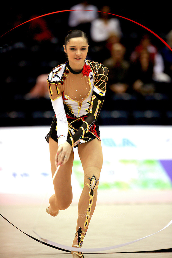Anna Bessonova of Ukraine waves circles with ribbon at 2006 Aeon Cup Worldwide Clubs Championships in rhythmic gymnastics on November16, 2006.<br />