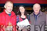 Checking out the form at the Race Night in aid of Churchill GAA Club held in The Tankard Bar, Kilfenora on Friday night were l/r Michael Greaney, Tracy O'Sullivan and Christy Murphy......................................................................................................................................................................................................................................................................................................... ............