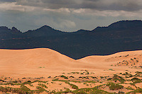 738900008 mountains and dunes with storm clouds covering the sky in coral pink sand dunes state park utah