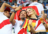 Deutsche und peruanische Fans feiern friedlich - 09.09.2018: Deutschland vs. Peru, Wirsol Arena Sinsheim, Freundschaftsspiel DISCLAIMER: DFB regulations prohibit any use of photographs as image sequences and/or quasi-video.