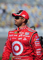Feb 08, 2009; Daytona Beach, FL, USA; NASCAR Sprint Cup Series driver Juan Pablo Montoya during qualifying for the Daytona 500 at Daytona International Speedway. Mandatory Credit: Mark J. Rebilas-