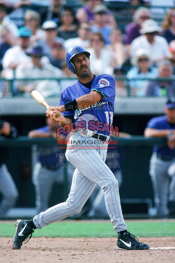 Dale Sveum of the Arizona Diamondbacks bats during a 1999 Major League Baseball Spring Training game in Phoenix, Arizona. (Larry Goren/Four Seam Images)