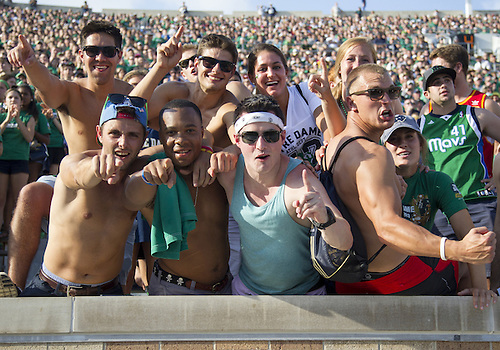 August 31, 2013:  Notre Dame fans cheer on their team during NCAA Football game action between the Notre Dame Fighting Irish and the Temple Owls at Notre Dame Stadium in South Bend, Indiana.  Notre Dame defeated Temple 28-6.
