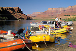 Preparing rubber rafts for rafting trip down the Colorado River, Lees Ferry, Glen Canyon National Recreation Area, Arizona