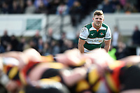 Harry Sloan of Ealing Trailfinders watches a scrum. Greene King IPA Championship match, between Richmond and Ealing Trailfinders on March 9, 2019 at the Richmond Athletic Ground in London, England. Photo by: Patrick Khachfe / Onside Images
