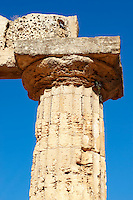 Greek Dorik columns at the  ruins of Temple F at Selinunte, Sicily photography, pictures, photos, images & fotos. 41 Greek Dorik Temple columns of the ruins of the Temple of Hera, Temple E, Selinunte, Sicily