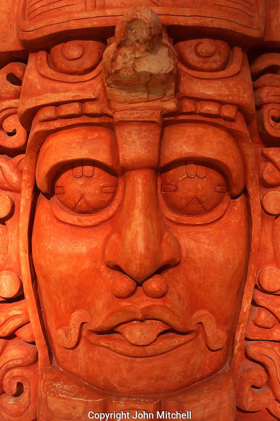 Face of Mayan ruler, replica of Temple of the masks at Kohunlich, Gran Museo del Mundo Maya museum in Merida, Yucatan, Mexico  .