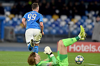 Arkadiusz Milik of Napoli celebrates after scoring the 2 -0  goal on penalty<br /> Napoli 10-12-2019 Stadio San Paolo <br /> Football Champions League 2019/2020 Group E<br /> SSC Napoli - Genk<br /> Photo Antonietta Baldassarre / Insidefoto
