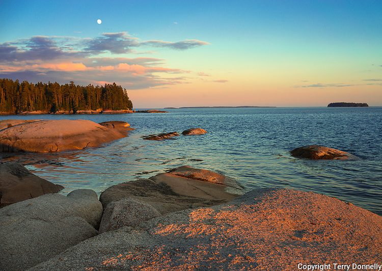Deer Isle, Maine:<br /> Evening light and moonrise on the rocky shoreline of Deer Isle