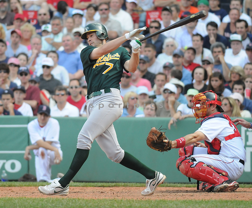 BOBBY CROSBY, of the Oakland A's  , in action  during the A's  game against the Boston Red Sox on July 30, 2009 in New York, NY. The Red Sox beat  the A's 8-5.