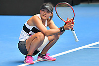January 16, 2019: Yafan Wang from China in action in the second round match against 15th seed Ashleigh Barty of Australia on day three of the 2019 Australian Open Grand Slam tennis tournament in Melbourne, Australia. Barty won 62 63. Photo Sydney Low
