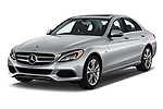 2017 Mercedes Benz C Class C350e 4 Door Sedan angular front stock photos of front three quarter view