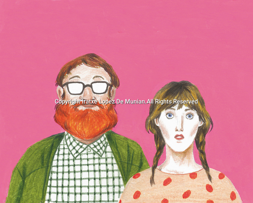Portrait of geeky couple looking at camera
