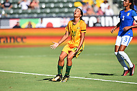 Carson, CA - Thursday August 03, 2017: Sam Kerr during a 2017 Tournament of Nations match between the women's national teams of Australia (AUS) and Brazil (BRA) at the StubHub Center.