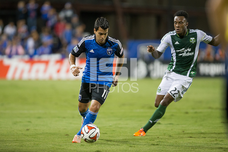Santa Clara, California - October 4, 2014: San Jose Earthquakes face off against the Portland Timbers at Buck Shaw Stadium on Saturday night.