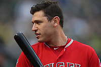 OAKLAND, CA - JUNE 15:  Ian Kinsler #3 of the Los Angeles Angels of Anaheim stands in front of the dugout against the Oakland Athletics during the game at the Oakland Coliseum on Friday, June 15, 2018 in Oakland, California. (Photo by Brad Mangin)
