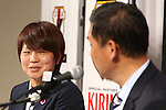 (L-R)<br /> Aya Miyama, <br />  Norio Sasaki (JPN), <br /> JULY 7, 2015 - Football / Soccer : <br /> Japanese women's national football team captain Aya Miyama attends a press conference after arriving in Chiba, Japan. <br /> Japan lost the FIFA Women's World Cup Canada 2015 Final match against United States on July 5.<br /> (Photo by Shingo Ito/AFLO SPORT)