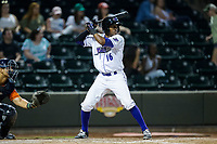 Luis Alexander Basabe (16) of the Winston-Salem Dash at bat against the Buies Creek Astros at BB&T Ballpark on April 15, 2017 in Winston-Salem, North Carolina.  The Astros defeated the Dash 13-6.  (Brian Westerholt/Four Seam Images)