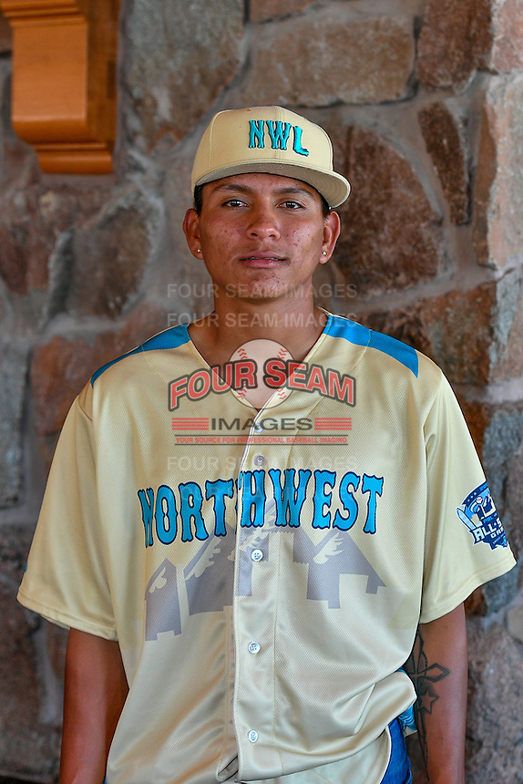 Diomar Lopez (20) of the Tri-City Dust Devils and the Northwest League All-Stars poses for a photo during activities before the 2nd Annual Northwest League-Pioneer League All-Star Game at Snowbasin Resort on August 1, 2016 in Ogden, Utah. (Stephen Smith/Four Seam Images)