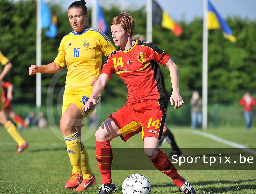 Belgium - Ukraine : Lien Mermans (14) aan de bal voor Iya Andrushchak<br /> foto DAVID CATRY / Nikonpro.be