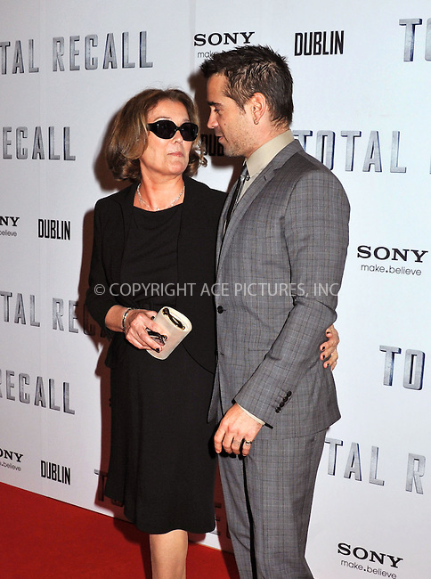 WWW.ACEPIXS.COM . . . . .  ..... . . . . US SALES ONLY . . . . .....August 14 2012, Dublin....Colin Farrell and his mother Rita Farrell at the premiere of 'Total Recall' on August 14 2012 in Dublin....Please byline: FAMOUS-ACE PICTURES... . . . .  ....Ace Pictures, Inc:  ..Tel: (212) 243-8787..e-mail: info@acepixs.com..web: http://www.acepixs.com