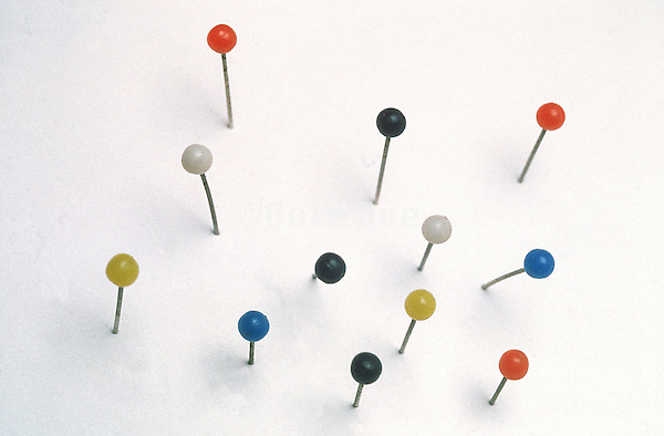 Twelve colored pins stuck in white Styrofoam