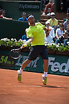 Fabio Fognini (ITA) takes the first set from Gael Monfils (FRA) at  Roland Garros being played at Stade Roland Garros in Paris, France on May 31, 2014