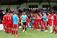 Darren Pratley leads out the Charlton team as the Welling players form a guard of honour to mark Charlton's promotion to the Championship during Welling United vs Charlton Athletic, Friendly Match Football at the Park View Road Ground on 13th July 2019
