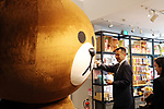 """April 27, 2017, Tokyo, Japan - Japan's SNS giant LINE's character goods and a large stuffed doll of LINE's character """"Brown"""" are displayed at a pop-up cafe and character goods shop featuring LINE's famous characters in Tokyo on Thursday, April 27, 2017. The Shinjuku Box, run by Mitsukoshi Isetan Transit, will open cafes of Taiwan's ice dessert shop Ice Monster and US chocolate shop Max Brenner using LINE characters and LINE's character goods shop from April 28 near Shinjuku station.   (Photo by Yoshio Tsunoda/AFLO) LwX -ytd-"""