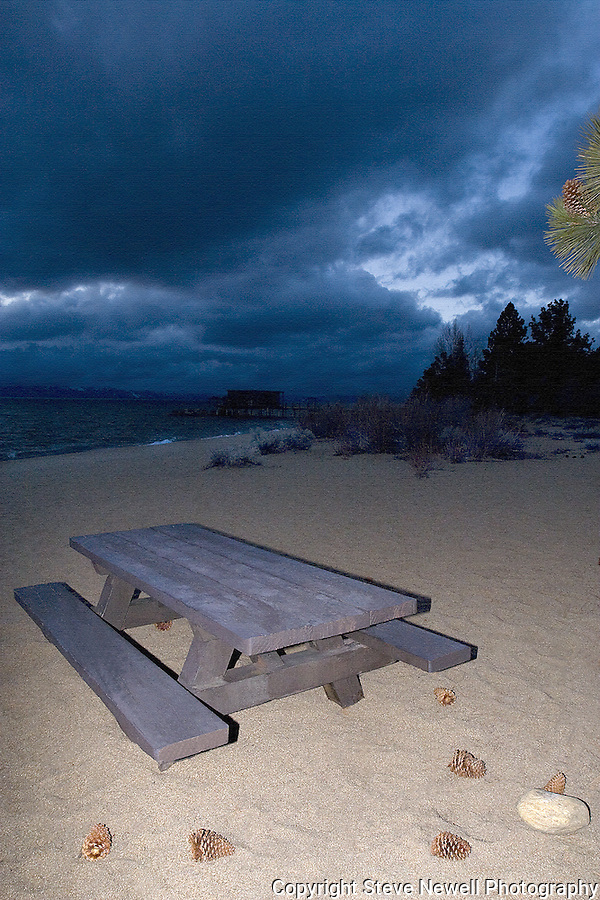 """""""Solitude"""" Nevada Beach, NV.  I captured this image with a Spring storm blowing into the Tahoe Basin.  I am always marveled at the solitude of our beaches, trails, and slopes here in South Lake Tahoe.  The limited edition series of 250 size for this image is 24""""x36"""" which is it's maximum size and comes with a certificate of authenticity."""