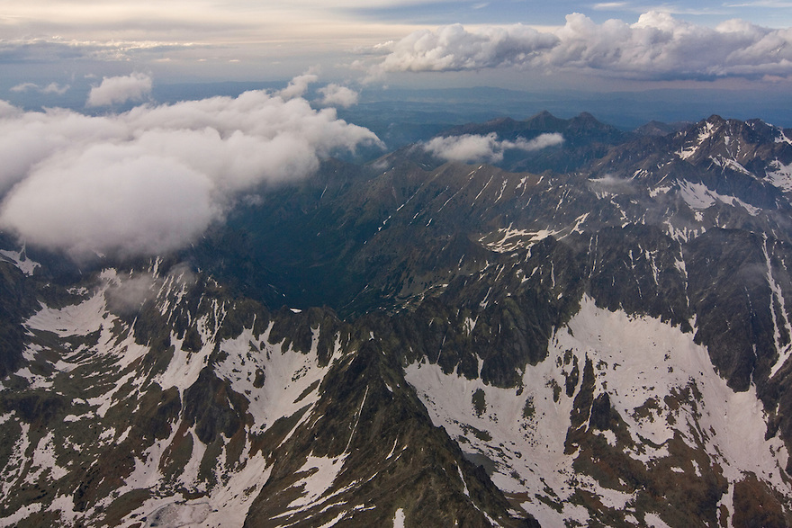 Aerial view of the High Tatras at the border Slovakia-Poland. On the background the White Tatras. High Tatras, Slovakia. June 2009. Mission: Ticha