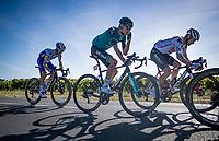 wounded wariors Nicolas Roche (IRE/Sunweb) & Maxime Chevalier (FRA/B&B-Vital Concept) rolling in behind the peloton, followed in by Julian Alaphilippe (FRA/Deceuninck-QuickStep)<br /> <br /> Stage 10 from île d'Oléron (Le Château-d'Oléron) to Île de Ré (Saint-Martin-de-Ré)(169km)<br /> <br /> 107th Tour de France 2020 (2.UWT)<br /> (the 'postponed edition' held in september)<br /> <br /> ©kramon