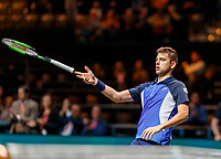 Rotterdam, The Netherlands, 9 Februari 2020, ABNAMRO World Tennis Tournament, Ahoy,  Pilip Krajinovic (SRB) throws his racket to the public  at matchpoint, he won the match and was frustrated<br /> Photo: www.tennisimages.com