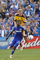 Kei Kamara (blue), Chris Wingert...Kansas City Wizards and Real Salt Lake played to a 1-1 tie at Community America Ballpark, Kansas City, Kansas.
