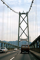 Vancouver: Lions Gate Bridge, Palmer & Bow, Arch., 1937-38. Towers--420 ft. high. Clear span between towers--1500 feet.  Photo '86.