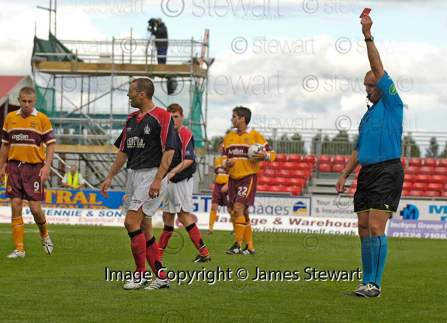 26/08/2006        Copyright Pic: James Stewart.File Name : sct_jspa05_fakirk_v_motherwell.STEVEN THOMSON IS SENT OFF.....Payments to :.James Stewart Photo Agency 19 Carronlea Drive, Falkirk. FK2 8DN      Vat Reg No. 607 6932 25.Office     : +44 (0)1324 570906     .Mobile   : +44 (0)7721 416997.Fax         : +44 (0)1324 570906.E-mail  :  jim@jspa.co.uk.If you require further information then contact Jim Stewart on any of the numbers above.........