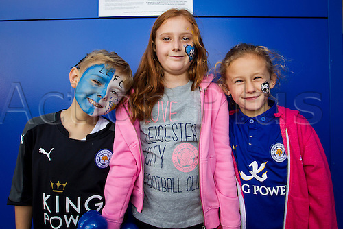 26.09.2015. Leicester, England. Barclays Premier League. Leicester City versus Arsenal.  Young Leicester City fans pictured before kick-off.
