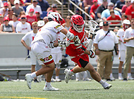 Annapolis, MD - May 20, 2018: Cornell Big Red Cooper Telesco (42) is being pushed by Maryland Terrapins Thomas O'Connell (11) during the quarterfinal game between Maryland vs Cornell at  Navy-Marine Corps Memorial Stadium in Annapolis, MD.   (Photo by Elliott Brown/Media Images International)