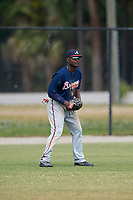 Atlanta Braves Xavier Avery (15) during a Minor League Spring Training game against the Detroit Tigers on March 19, 2018 at the TigerTown Complex in Lakeland, Florida.  (Mike Janes/Four Seam Images)