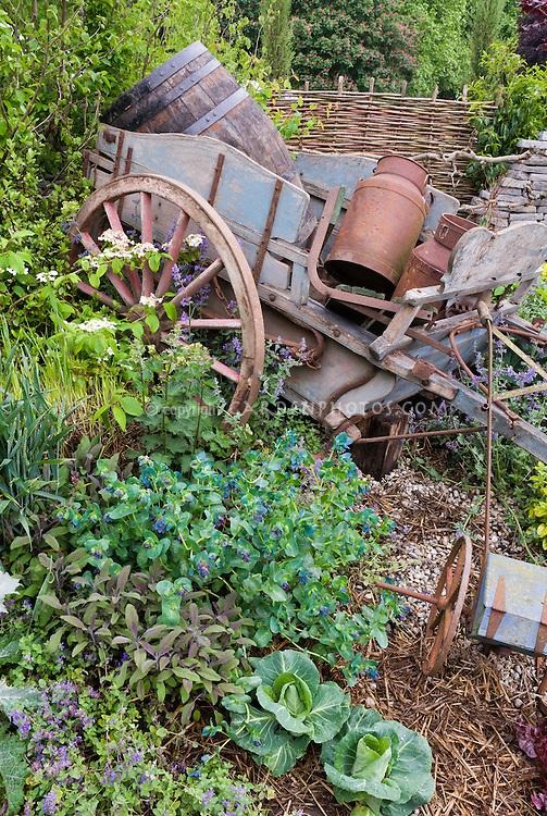 Old farm cart barrel rusty in spring garden vegetables for Vegetable garden tools