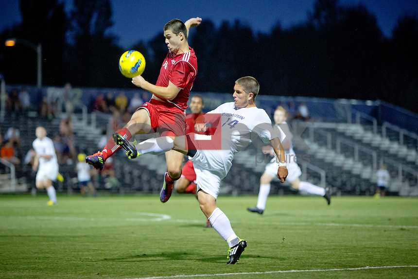 The University of Washington men's soccer team plays an exhibition match against Simon Fraser University on Thursday August 15, 2012 at the UW Soccer Stadium.(Photo by Scott Eklund /Red Box Pictures)