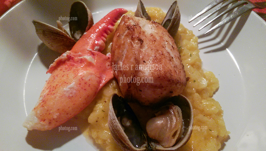 Lobster, Scallop, Clams over Risotto. Dinner at RSVP Restaurant in West Cornwall Connecticut April 2016