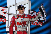 Sept. 1, 2013; Clermont, IN, USA: NHRA funny car driver Jack Beckman during qualifying for the US Nationals at Lucas Oil Raceway. Mandatory Credit: Mark J. Rebilas-