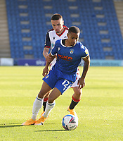 Colchester United's Paris Cowan-Hall and Bolton Wanderers' Finlay Lockett<br /> <br /> Photographer Rob Newell/CameraSport<br /> <br /> The EFL Sky Bet League Two - Colchester United v Bolton Wanderers - Saturday 19th September 2020 - Colchester Community Stadium - Colchester<br /> <br /> World Copyright © 2020 CameraSport. All rights reserved. 43 Linden Ave. Countesthorpe. Leicester. England. LE8 5PG - Tel: +44 (0) 116 277 4147 - admin@camerasport.com - www.camerasport.com