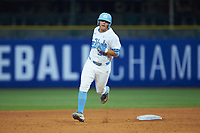 Ashton McGee (36) of the North Carolina Tar Heels rounds the bases after hitting a home run against the Miami Hurricanes in the second semifinal of the 2017 ACC Baseball Championship at Louisville Slugger Field on May 27, 2017 in Louisville, Kentucky. The Tar Heels defeated the Hurricanes 12-4. (Brian Westerholt/Four Seam Images)