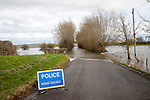 Flooding on the Somerset Levels, England in February 2014 - road from Drayton to Muchelney impassable with police notice wring of road closed