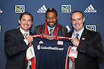January 17th, 2013: #1 draft pick Andrew Farrell, selected by the New England Revolution with head coach Jay Heaps (left) and General Manager Mike Burns (right). The 2013 MLS SuperDraft was held during the NSCAA Annual Convention held in Indianapolis, Indiana.