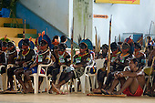Altamira, Brazil. Encontro Xingu protest meeting about the proposed Belo Monte hydroeletric dam and other dams on the Xingu river and its tributaries. Kayapo warriors.